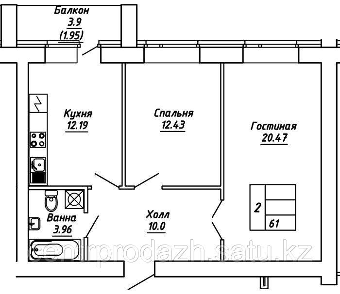 2 комнатная квартира в ЖК  Brussel 2 61 м²
