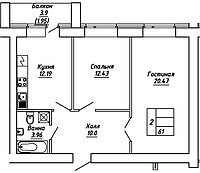 2 комнатная квартира в ЖК  Brussel 2 61 м², фото 1