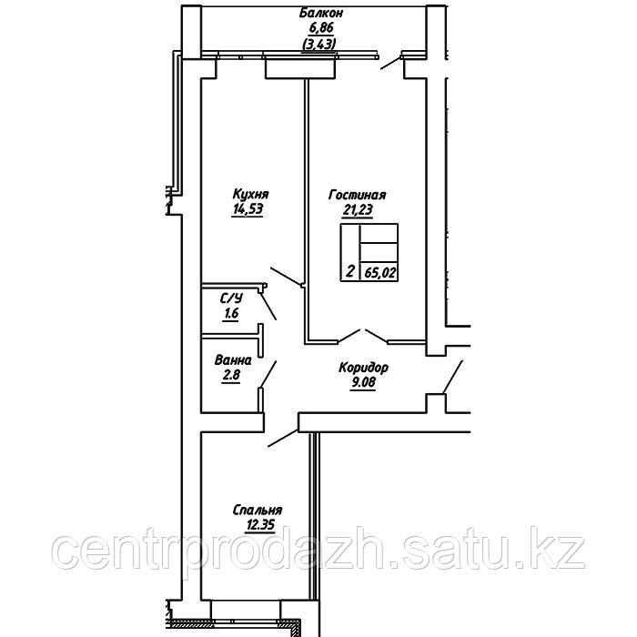 2 комнатная квартира в ЖК  Brussel 2 65.02 м²