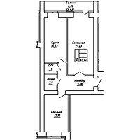 2 комнатная квартира в ЖК  Brussel 2 65.02 м², фото 1