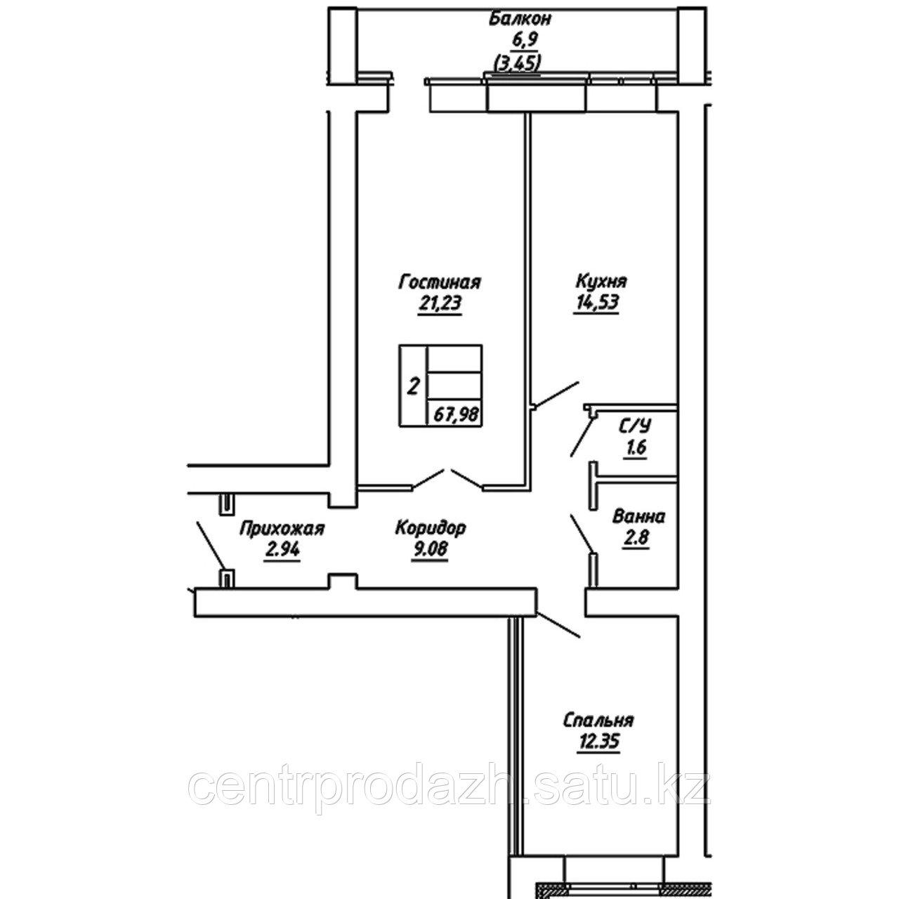 2 комнатная квартира в ЖК  Brussel 2 67.98 м²