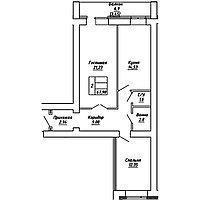 2 комнатная квартира в ЖК  Brussel 2 67.98 м², фото 1