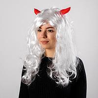 Карнавальный парик с красными рогами, цвет белый, 130 г, фото 1