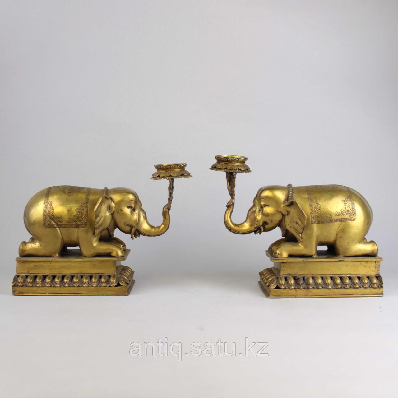 """Пара подсвечников """"Слоны"""" Британская Индия - фото 2"""