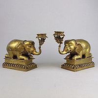 """Пара подсвечников """"Слоны"""" Британская Индия"""
