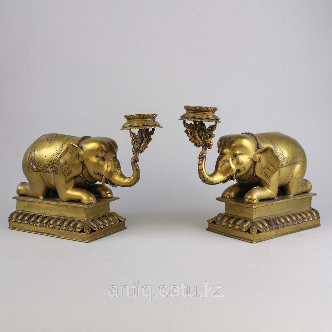 """Пара подсвечников """"Слоны"""" Британская Индия - фото 1"""