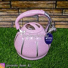 """Чайник для кипячения воды, со свистком """"Haus Roland"""". Материал: Металл. Цвет: Розовый. Объем: 3л."""