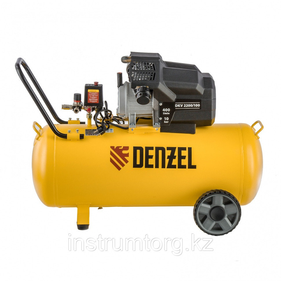 "Компрессор воздушный DKV2200/100 ""Х-PRO"" 2.2 кВт, 400 л/мин, 100 л// Denzel"
