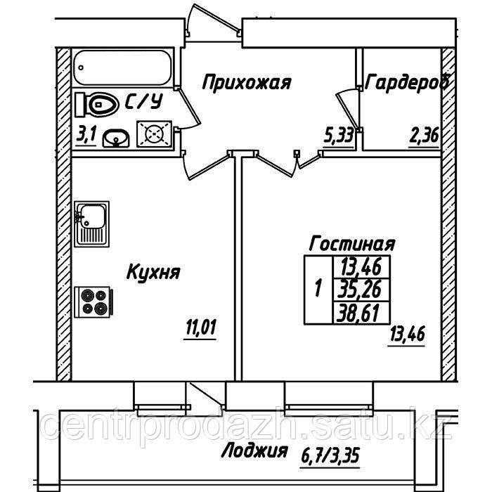 1 комнатная квартира в ЖК Brussel 3 38.61 м²