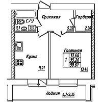 1 комнатная квартира в ЖК Brussel 3 38.61 м², фото 1