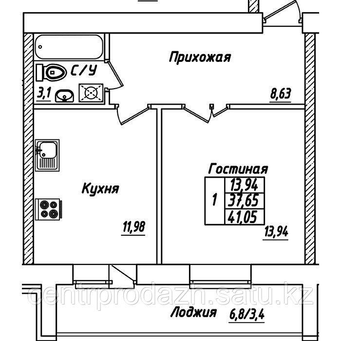 1 комнатная квартира в ЖК Brussel 3 41.05 м²