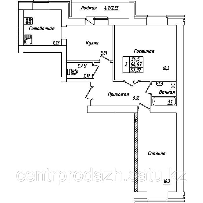 2 комнатная квартира в ЖК Brussel 3 67.32 м²