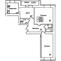 2 комнатная квартира в ЖК Brussel3 67.32 м²