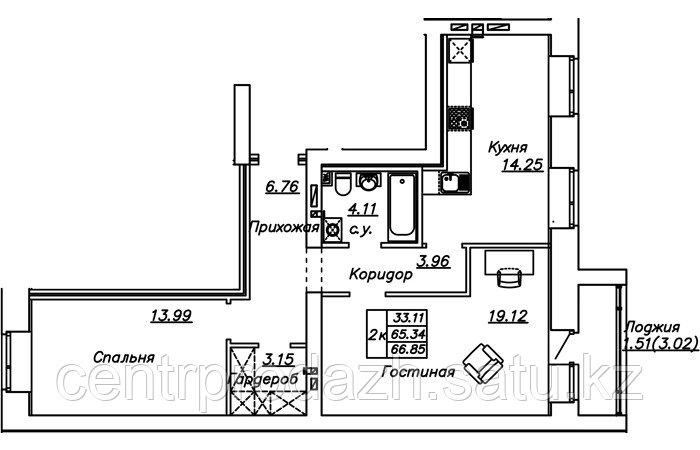 2 комнатная квартира в ЖК Manhattan 5 65.85 м²