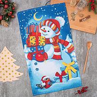 """Полотенце """"Снеговик"""" 35х60 см, 100% хл, вафельное полотно 162г/м2"""