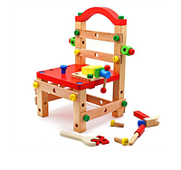Развивающая игра Стул-конструктор деревянный, с набором столярных инструментов