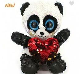 Панда с сердцем ( паетки) 19см