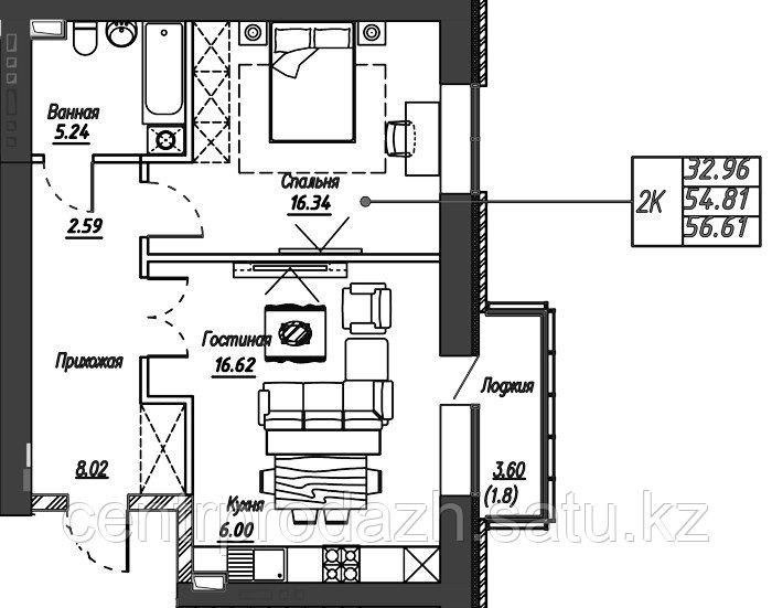 2 комнатная квартира в ЖК Варшава 56.61 м²