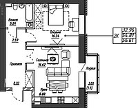 2 комнатная квартира в ЖК Варшава 56.61 м², фото 1
