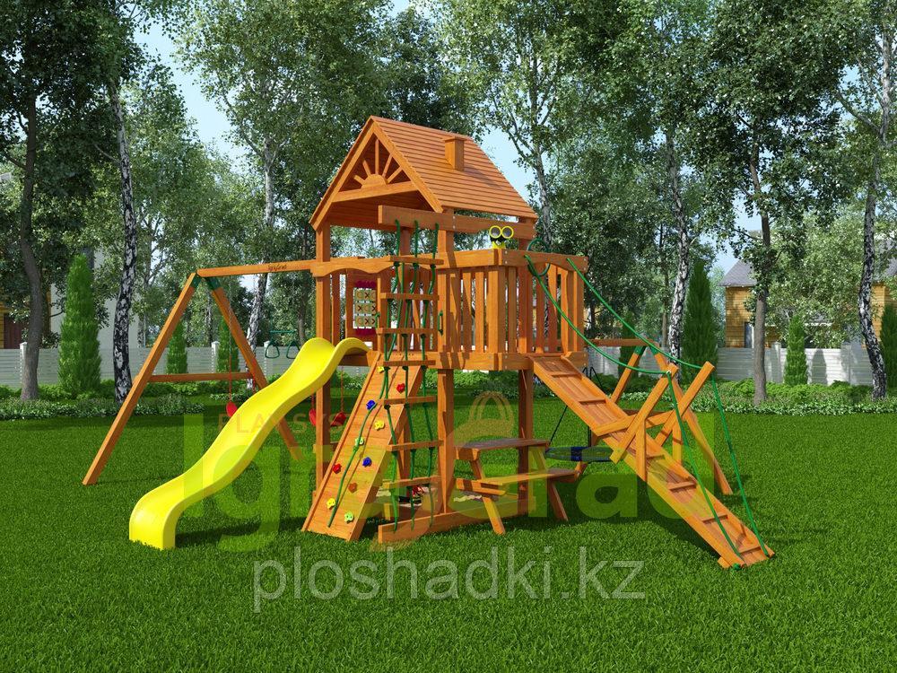 """IgraGrad """"Пиратский дом"""" (Дерево) с трапом, конструкцией скалодрома, качелей """"гнездо""""."""