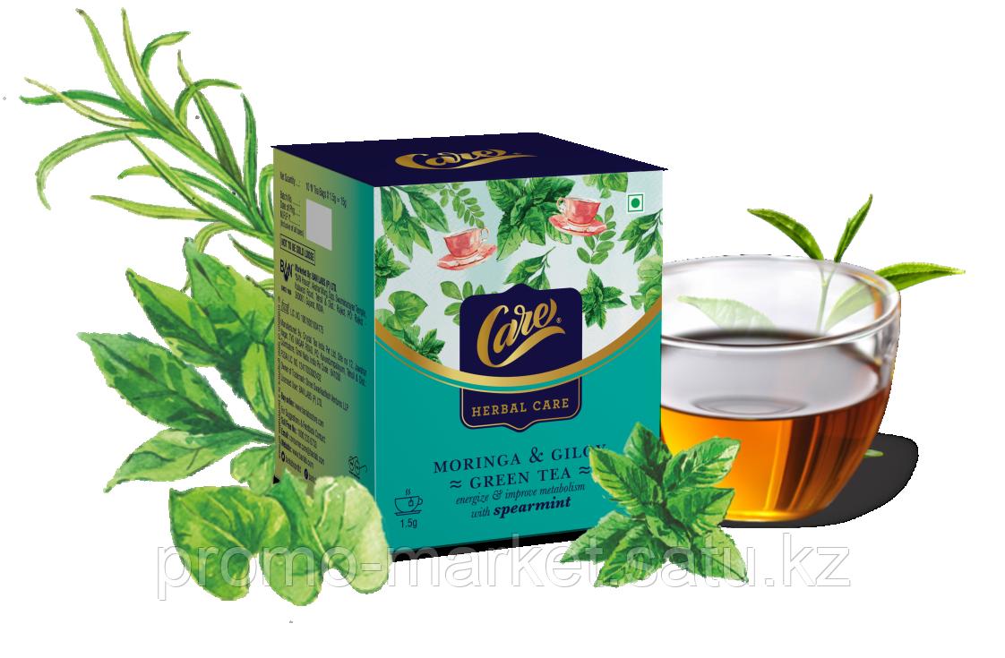 Зеленый чай  с мятой Care Moringa & Giloy
