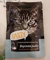 Полнорационный корм для кошек Tasty 85г, вкусная рыба