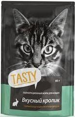 Полнорационный корм для кошек Tasty 85г, вкусный кролик