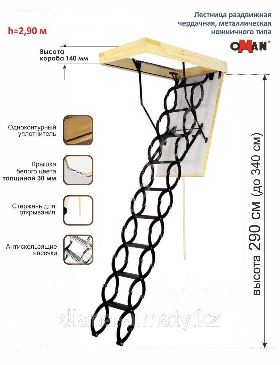 Металлическая чердачная лестница Termo Oman (60х80х290 см) Польша Whats Upp. +7 707 570 5151