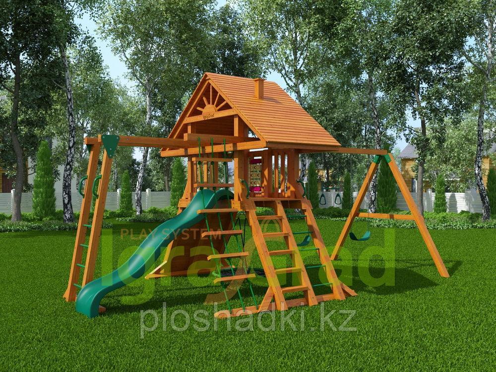 """IgroGrad """"Крепость с рукоходом"""" (Дерево) с качелей """"гнездо"""", рулем, рукоходом, веревочной лестницей."""