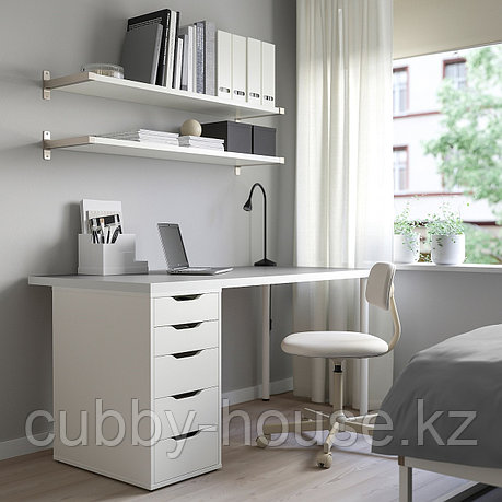 ЛИННМОН / АЛЕКС Стол, светло-серый, белый, 150x75 см, фото 2