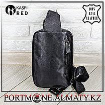 Мужской рюкзак-слинг  BULLCAPTAIN,  натуральная бычья кожа 100%, фото 3