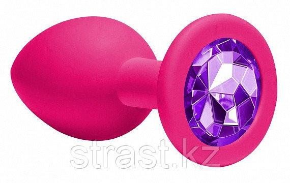 Анальная пробка Emotions Cutie Medium с фиолетовым кристаллом, розовая