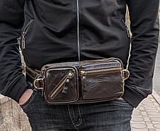 Мужская сумка на пояс Contacts 100 % натуральная кожа, фото 3