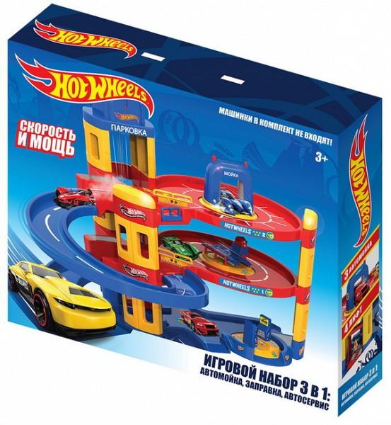 Hot Wheels Игровой набор Хот Вилс 3 в 1, Автомойка, Заправка, Автосервис