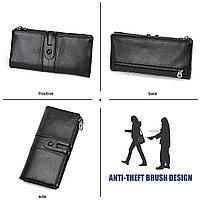 Длинное портмоне из натуральной кожи RFID protected - ваша безопасность превыше всего!