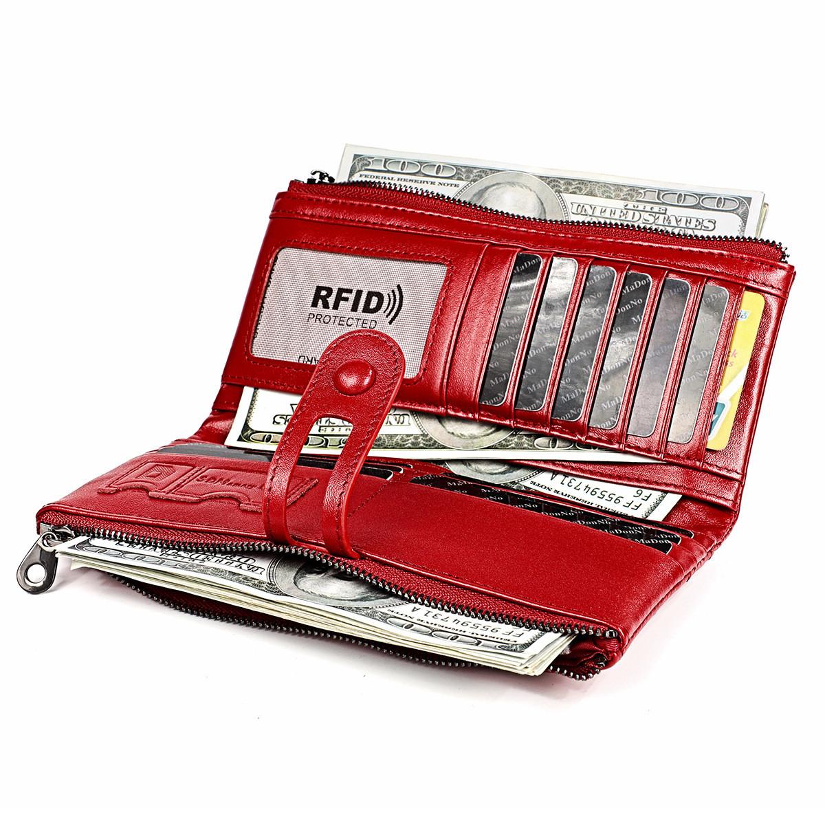 Длинное классическое портмоне из натуральной кожи RFID protected - ваша безопасность превыше всего!