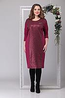 Женское осеннее трикотажное красное нарядное большого размера платье Michel chic 2026 бордо 50р.