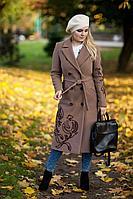 Женское осеннее драповое бежевое большого размера пальто Euromoda 315 бежевый 46р.