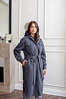 Женское осеннее драповое синее пальто Temper 379 42р.