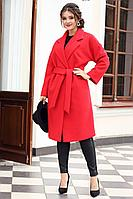 Женское осеннее драповое красное пальто Мода Юрс 2615 красный 46р.