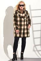 Женское осеннее драповое коричневое пальто Golden Valley 7066-1 коричневый 48р.