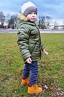 Детская для мальчиков осенняя с мехом зеленая куртка Lona 7205И хаки 98-52р.