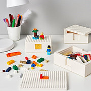 BYGGLEK БЮГГЛЕК LEGO® контейнер с крышкой, 3 шт., белый