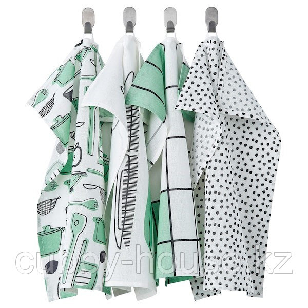 RINNIG РИННИГ Полотенце кухонное, бел/зелен/с рисунком45x60 см