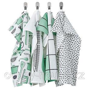 RINNIG РИННИГ Полотенце кухонное, бел/зелен/с рисунком45x60 см, фото 2
