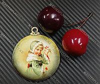 Новогодняя елочная игрушка деревянная (Шарик №11)