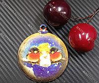 Новогодняя елочная игрушка деревянная (Шарик №15)