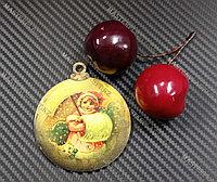 Новогодняя елочная игрушка деревянная (Шарик №33)