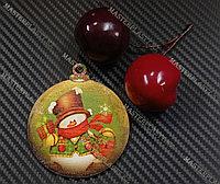 Новогодняя елочная игрушка деревянная (Шарик №51)