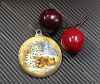 Новогодняя елочная игрушка деревянная (Шарик №53)
